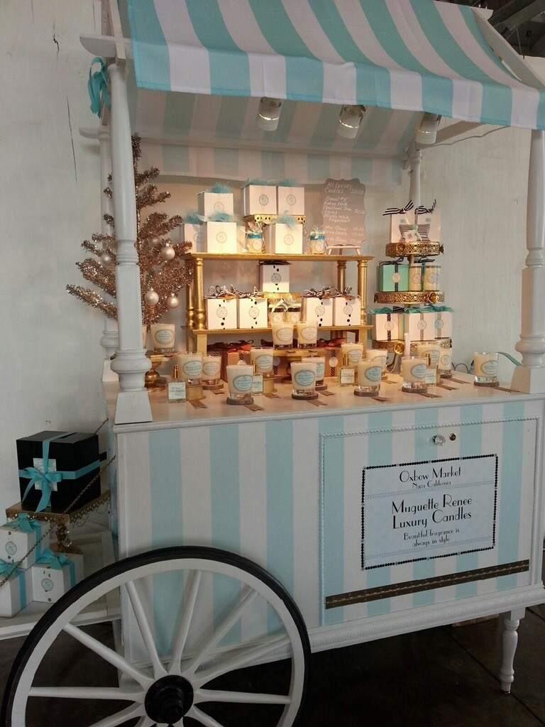 Muguette's candle cart at Oxbow Public Market in Napa on Brenda Kinsel's website