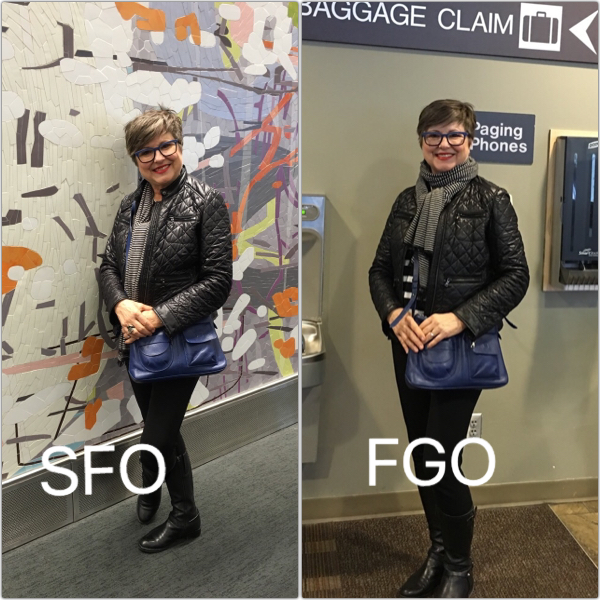 One outfit does double duty for travel days on Brenda Kinsel website