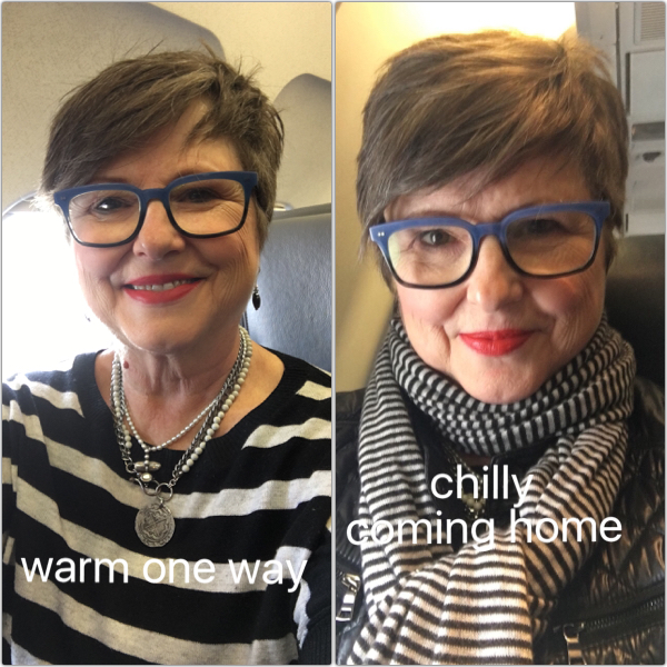 Having layers to stay warmer or cooler on the plane on Brenda Kinsel website
