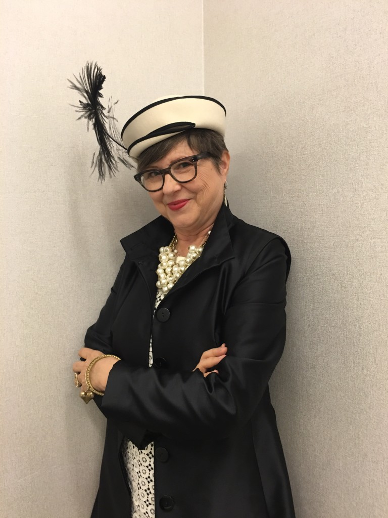 Showcasing my vintage hat in this classic outfit on Brenda Kinsel
