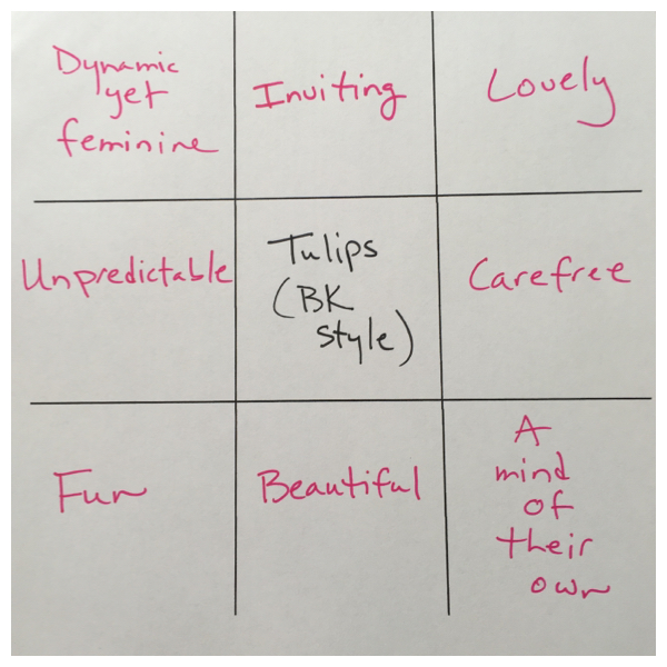 tic tac toe style exercise on Brenda Kinsel website