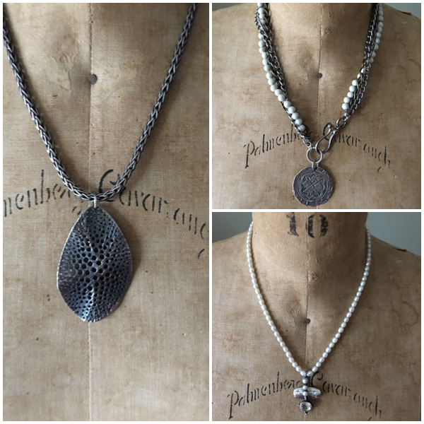 Necklaces about the same length in a combo on Brenda Kinsel website