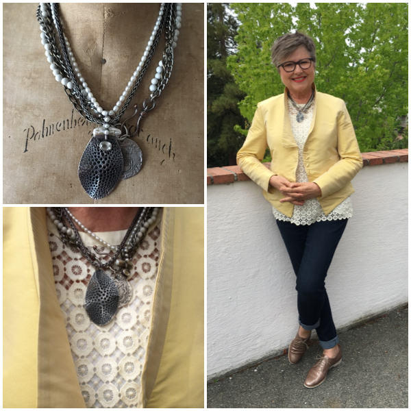 A messy necklace using three independent ones on Brenda Kinsel website