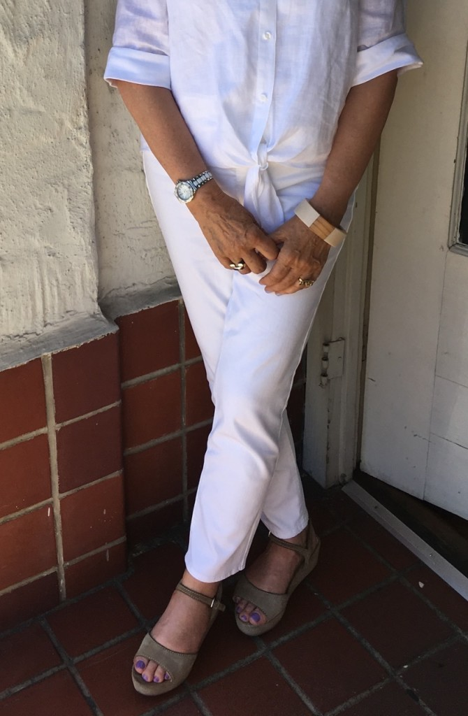 white jeans for the wine country on Brenda Kinsel website