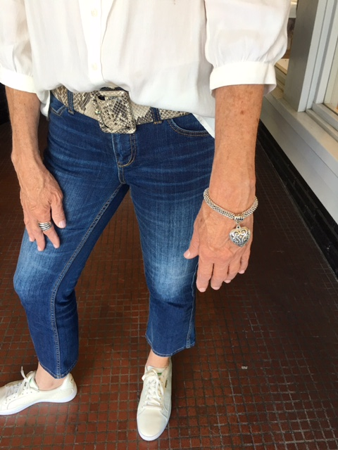 A good blouse tuck into a great belt on Brenda Kinsel website