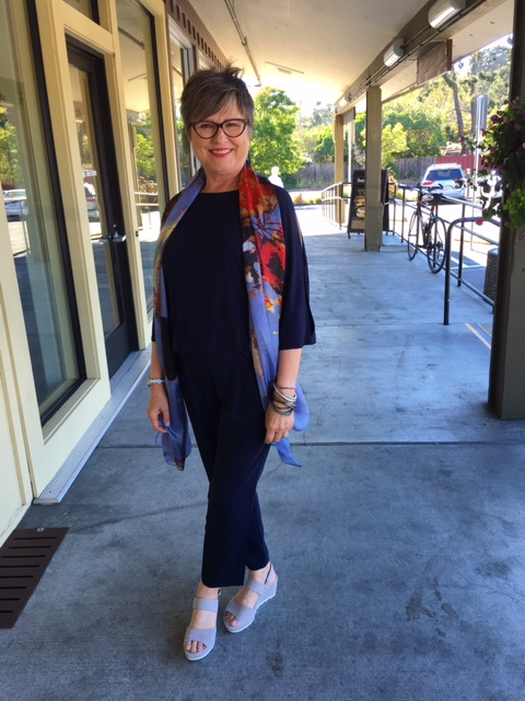 Adding a scarf to my outfit for added interest on Brenda Kinsel website