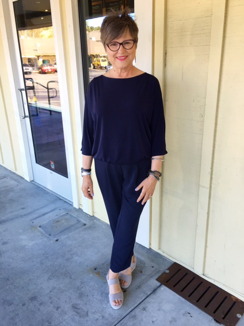 Navy blue column of color in this Chico's outfit on Brenda Kinsel website