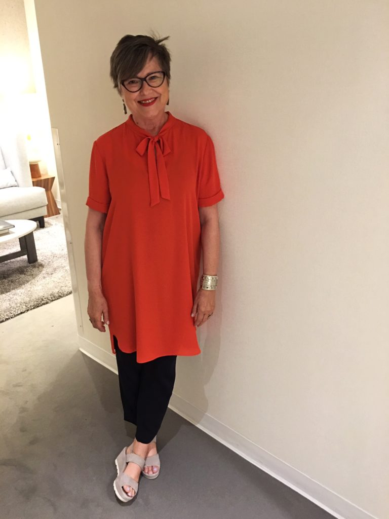 Orange BCBG dress on Brenda Kinsel website