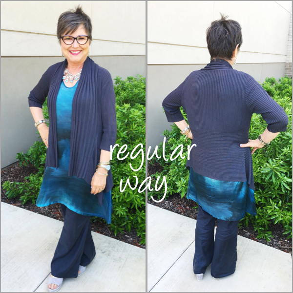 Wearing a cardigan and full pants with my tunic dress on Brenda Kinsel website