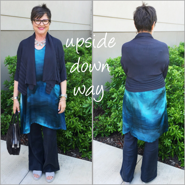 Turning a long cardigan into a short shrug by flipping it upside down on Brenda Kinsel website