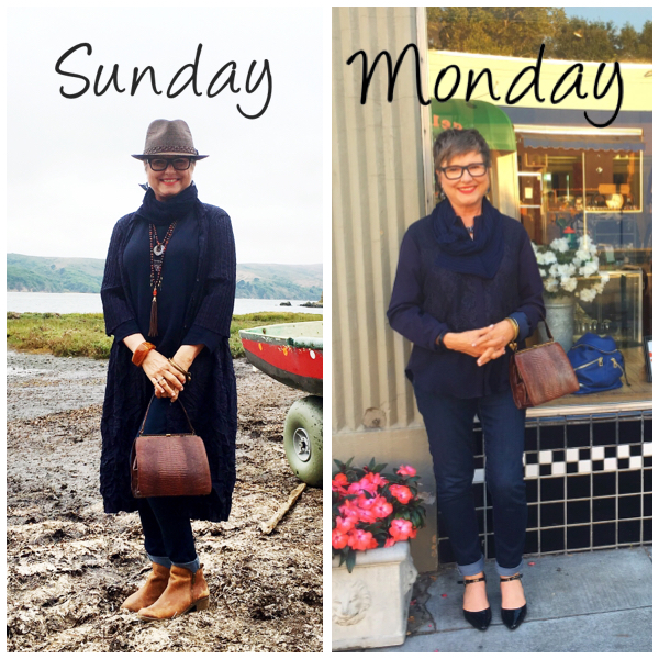 Showing two similar outfits for two different days on Brenda Kinsel website
