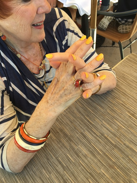 Marj dares to wear color on nails on Brenda Kinsel website