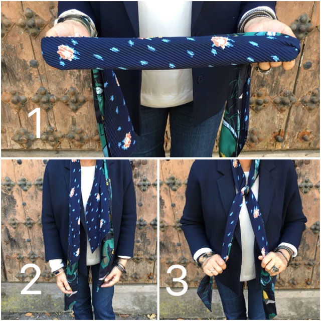 Learn how to tie a double scarf with this neat trick.