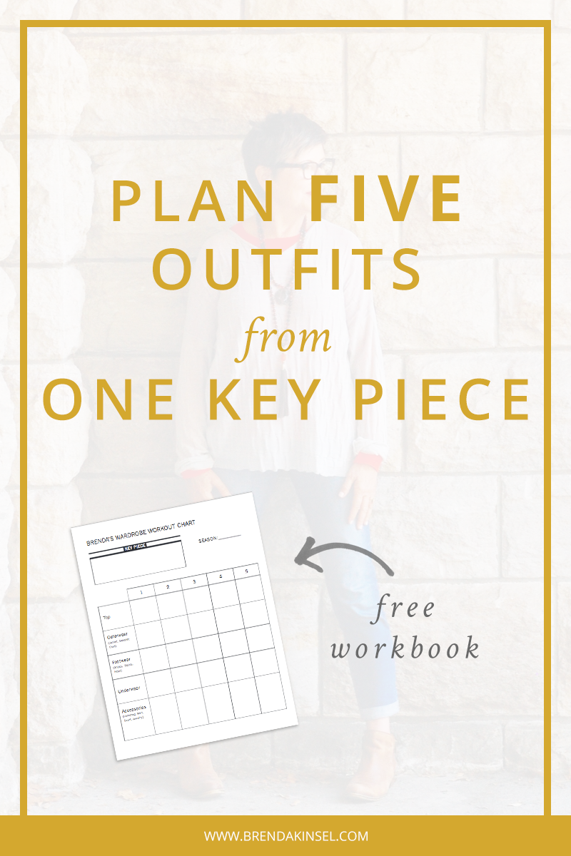 Download my Wardrobe Workout Chart to help plan out 5 different outfits around 1 key piece. www.brendakinsel.com