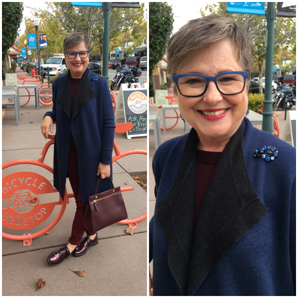 Adding a brooch to a sweater coat on BrendaKinsel.com