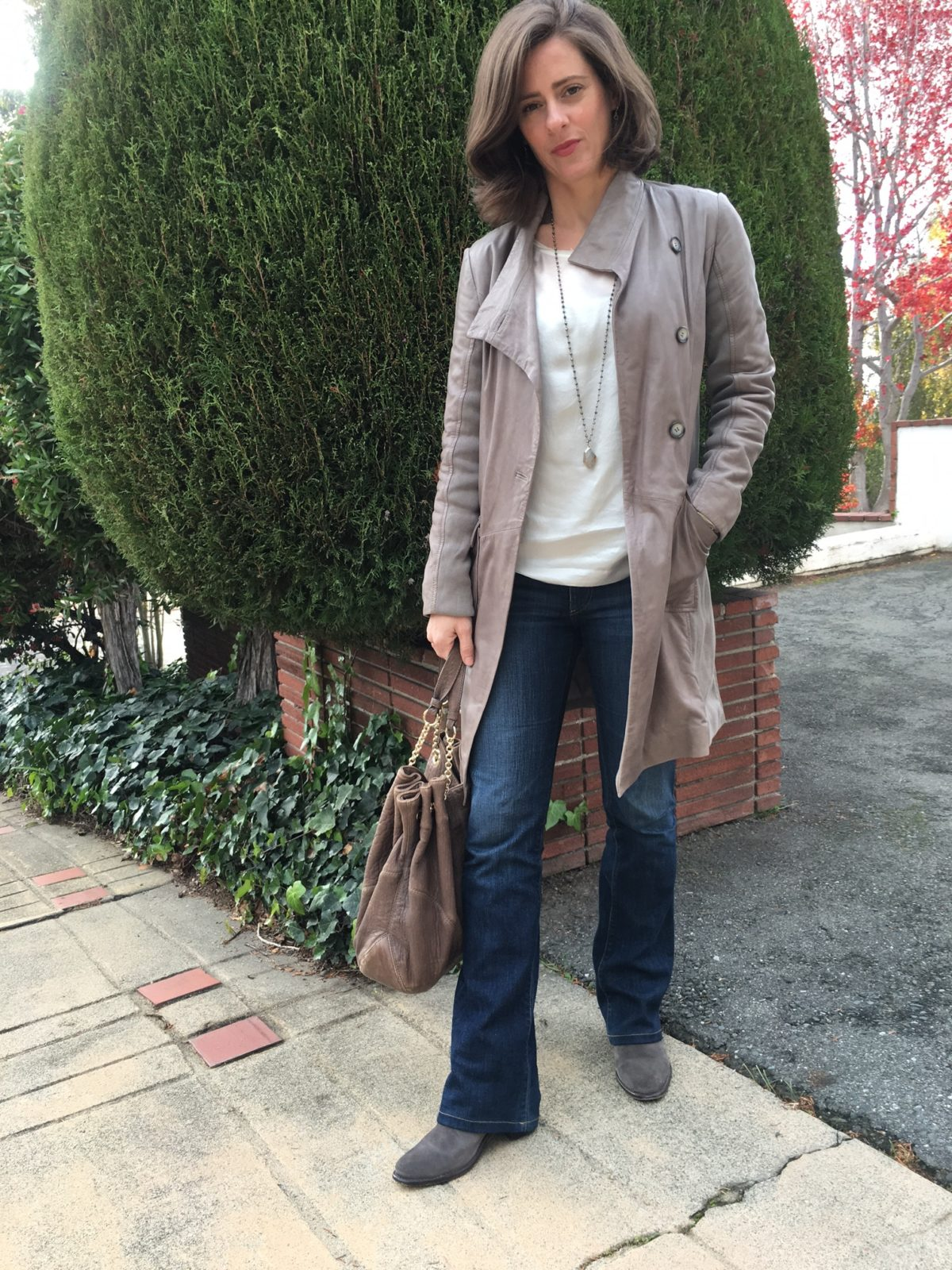 Erin wearing leather, suede and denim in a work outfit on BrendaKinsel.com