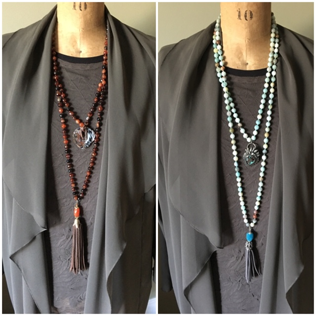 Trying necklaces to wear with a duster on BrendaKinsel.com