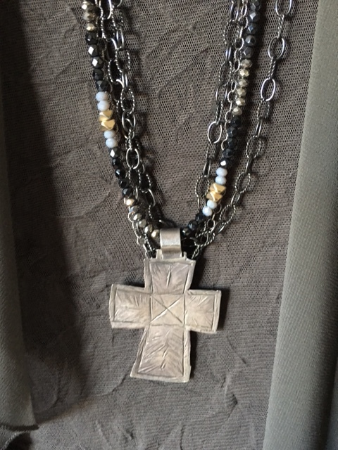 Cross necklace is the right mix for the duster on BrendaKinsel.com