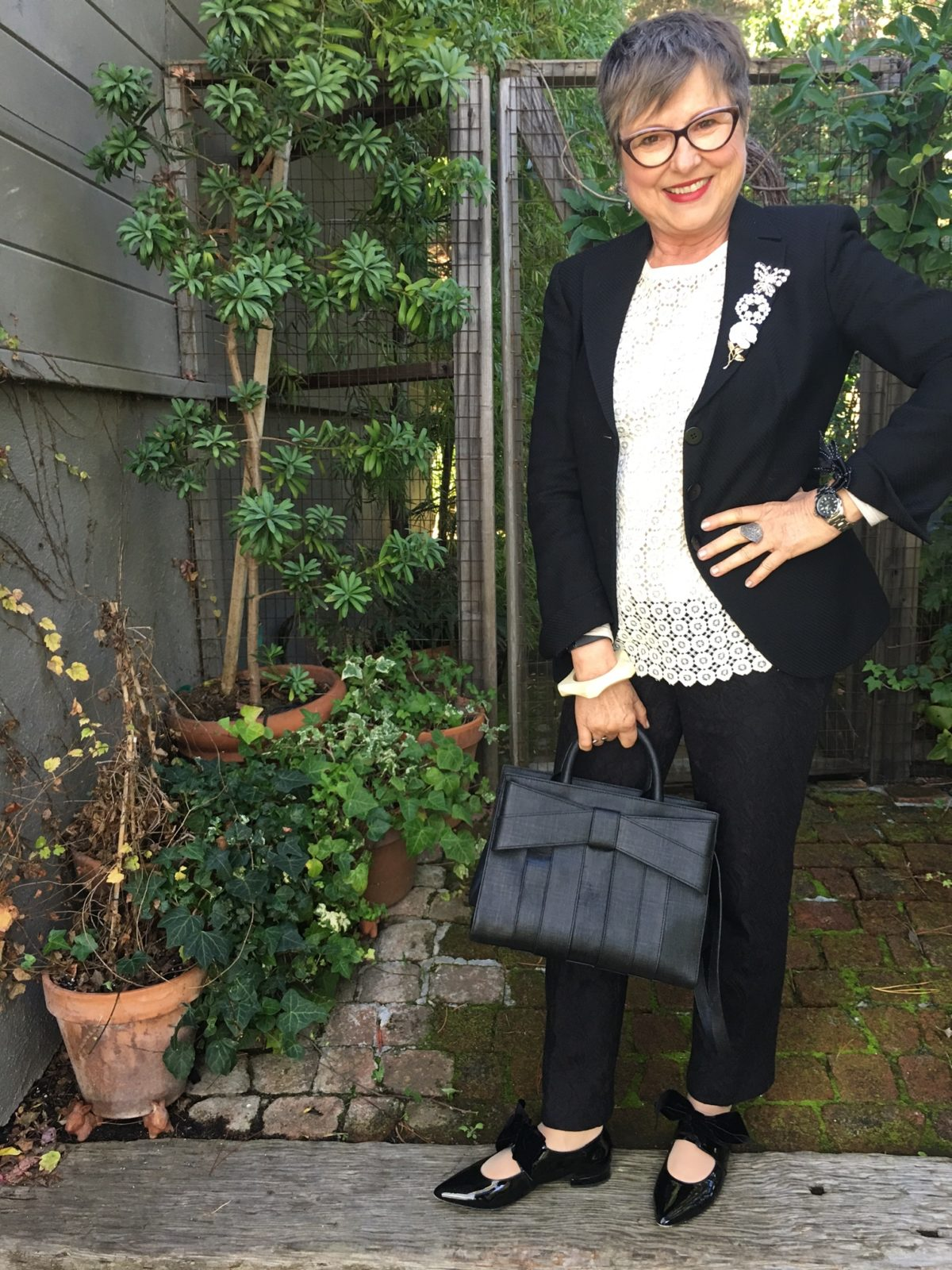 Accessories for a black and white outfit on BrendaKinsel.com