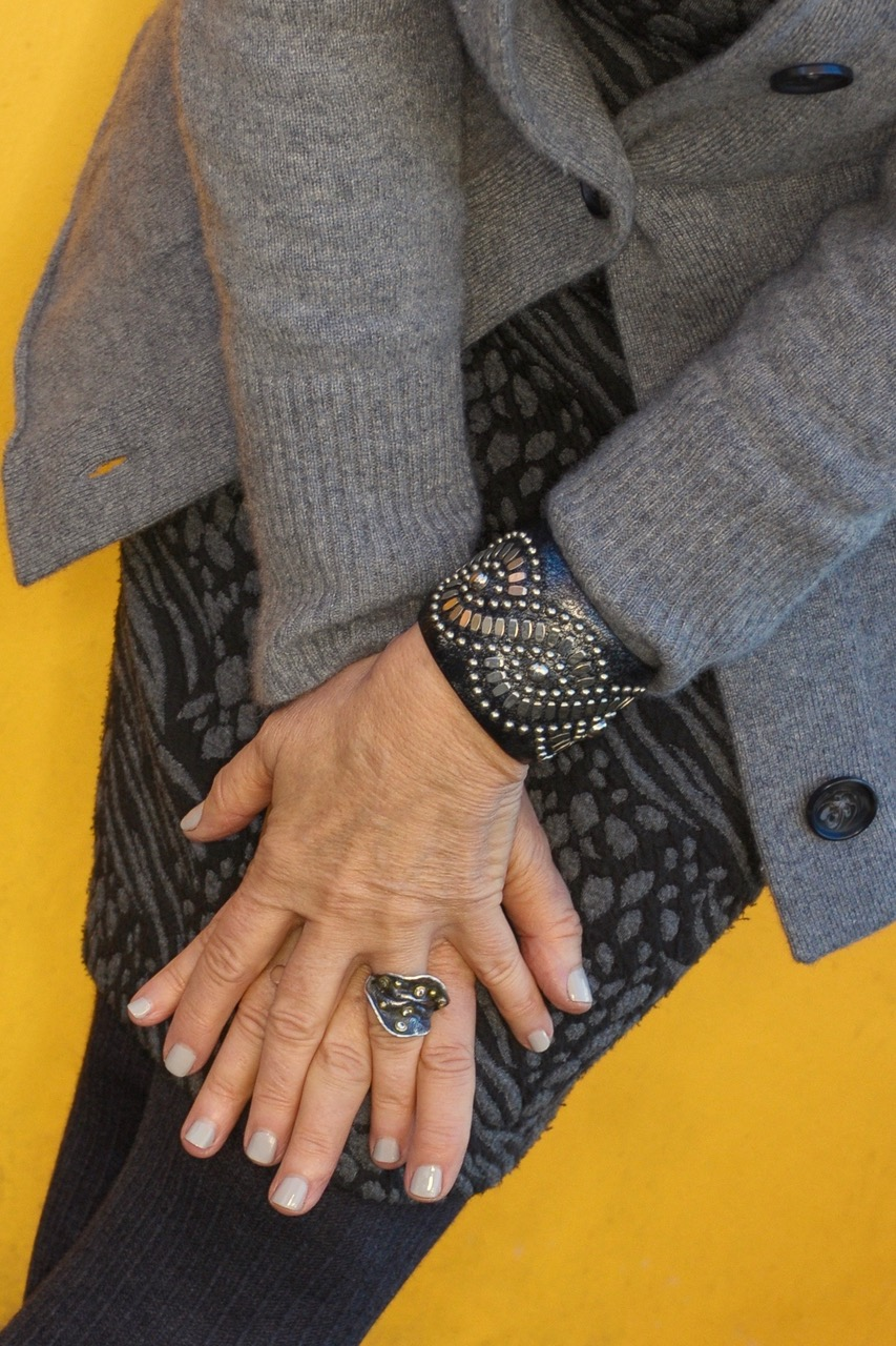 Accessorizing a gray outfit on BrendaKinsel.com