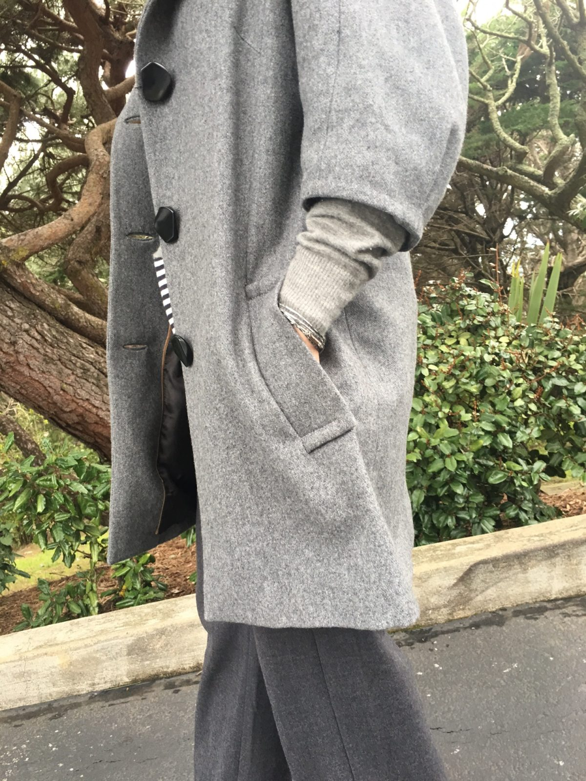 Elbow length gray coat on BrendaKinsel.com