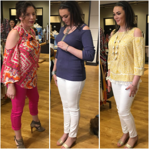 Cold shoulder looks from Chico's on BrendaKinsel.com