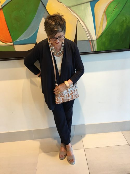 Chicos navy pant in new looks on BrendaKinsel.com