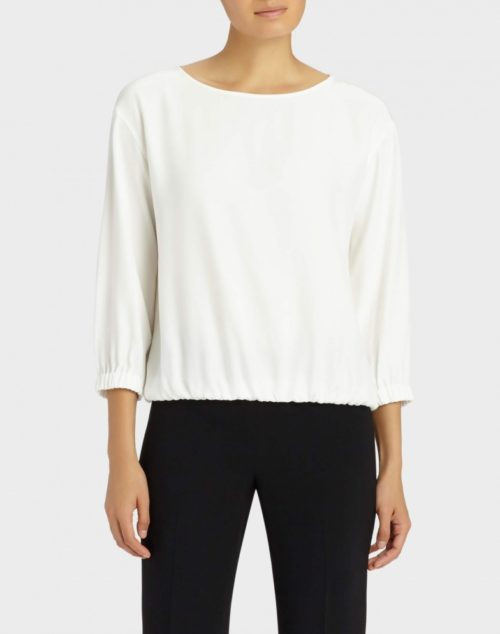 White matte silk Evie blouse