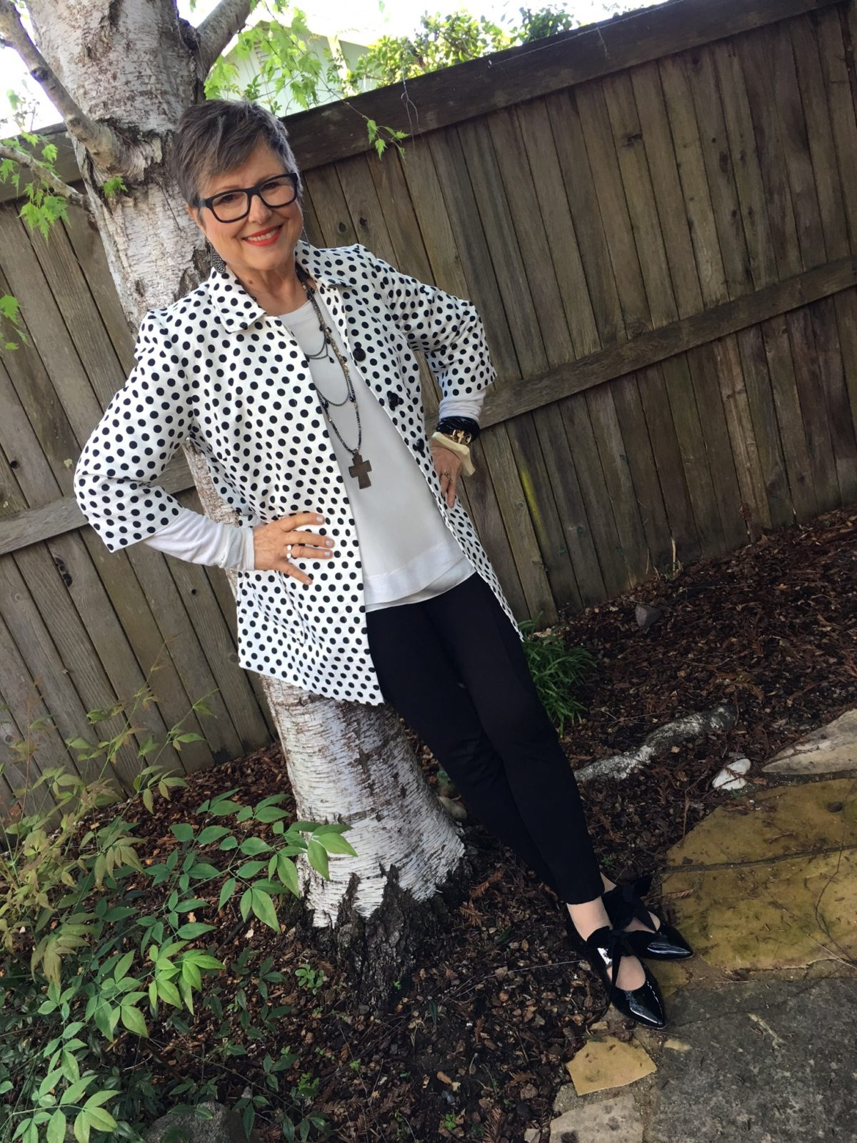 Wearing polka dots from Chico's