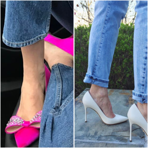 Fancy shoes with casual jeans on BrendaKinsel.com