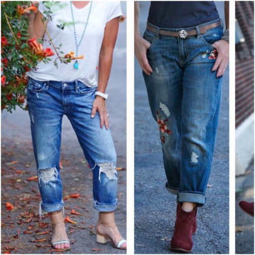 Rolled and distressed jeans