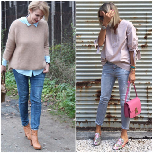 Jeans with one skinny cuff