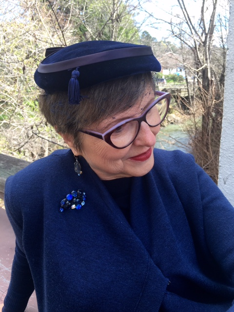 Vintage blue hat and brooch