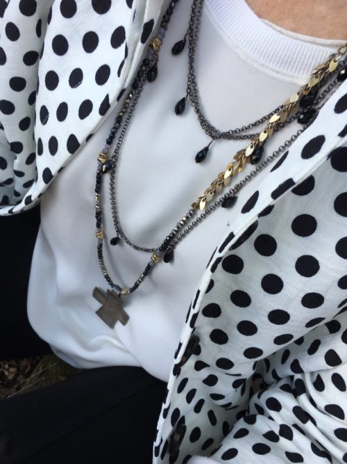Adding some favorite necklaces to my polka dot jacket