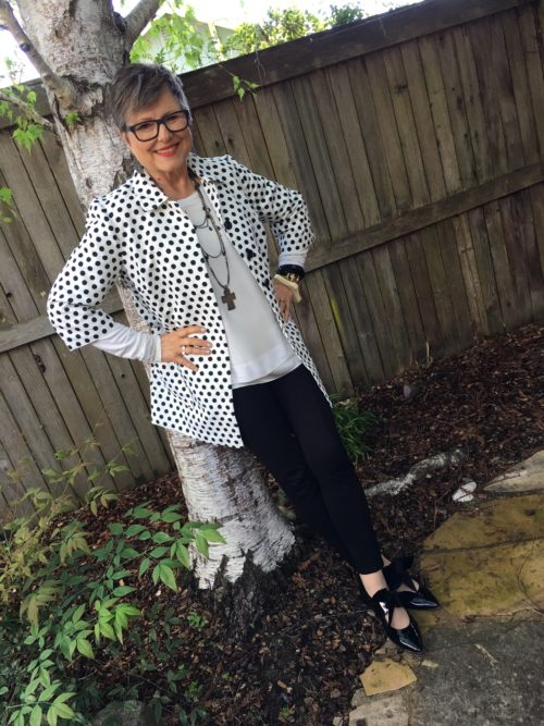 Enjoying polka dots from Chico's