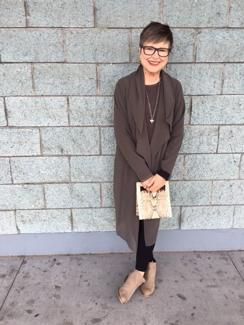 Python bag is chic with neutrals on BrendaKinsel.com