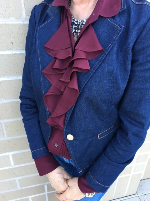 Burgandy ruffled blouse