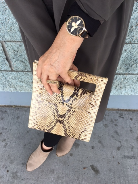 Python bag works into many outfits on BrendaKinsel.com