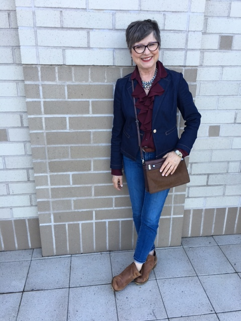 Wearing double denim with my brown beauty bundle