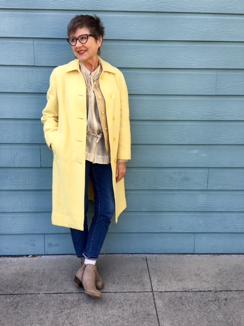 Three shades of yellow go into this outfit on BrendaKinsel.com