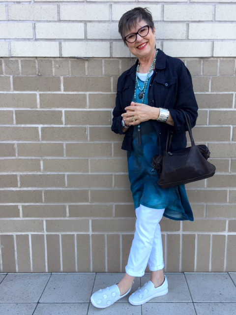 Enjoying this fresh way to wear my watery blue dress on BrendaKinsel.com