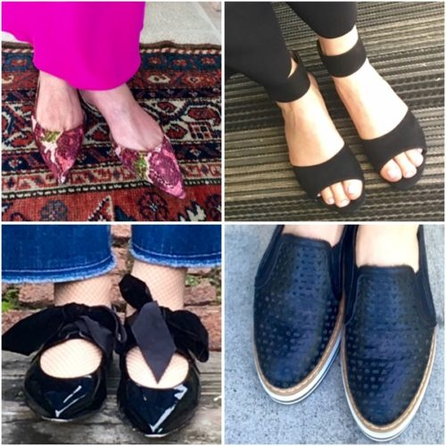 Examples of fashionable, comfortable shoes for women over 60 on BrendaKinsel.com