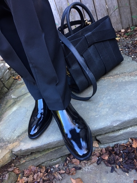 Patent booties and Zac Posen bag