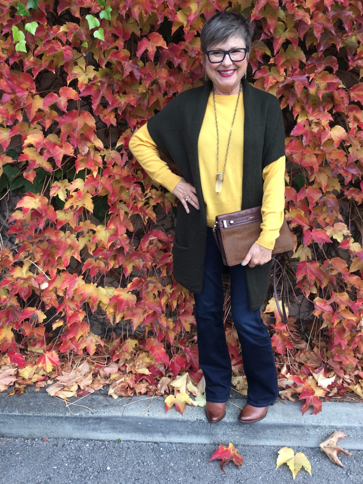 Vince cardigan and saffron yellow sweater by Grana
