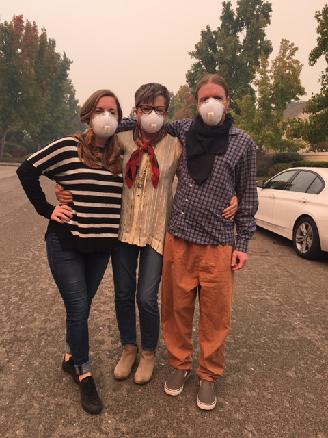 Wearing masks in Sonoma to keep out the smoke