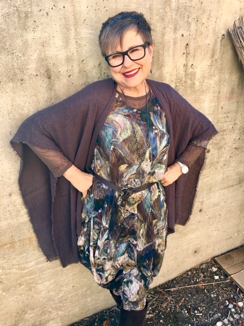 Wearing gray shawl over Peacock Dress