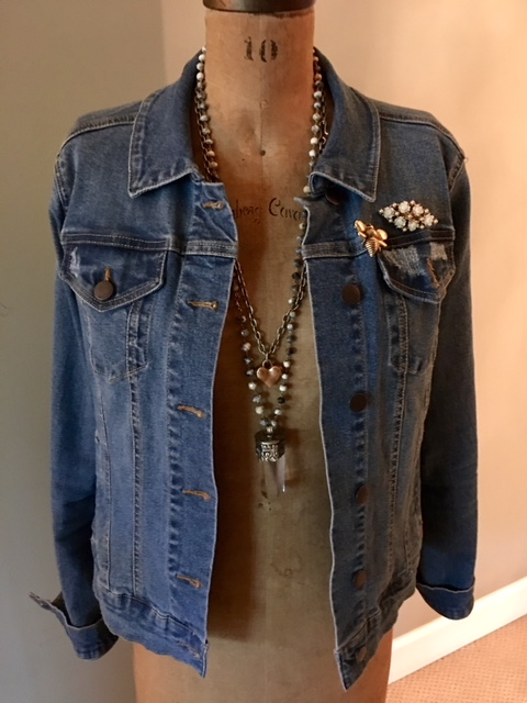 Jean jacket and jewelry