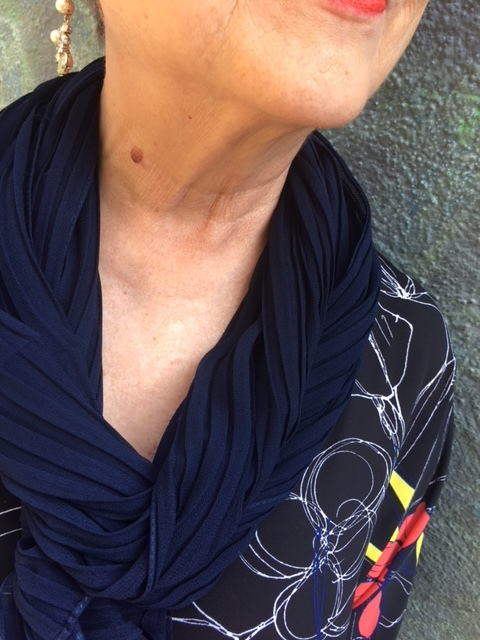 Navy scarf is the secret solution